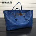 ISHARES fashion designer handbags genuine leather sheepskin shoulder bag weave large shopping bag brand handmade totes IS272154
