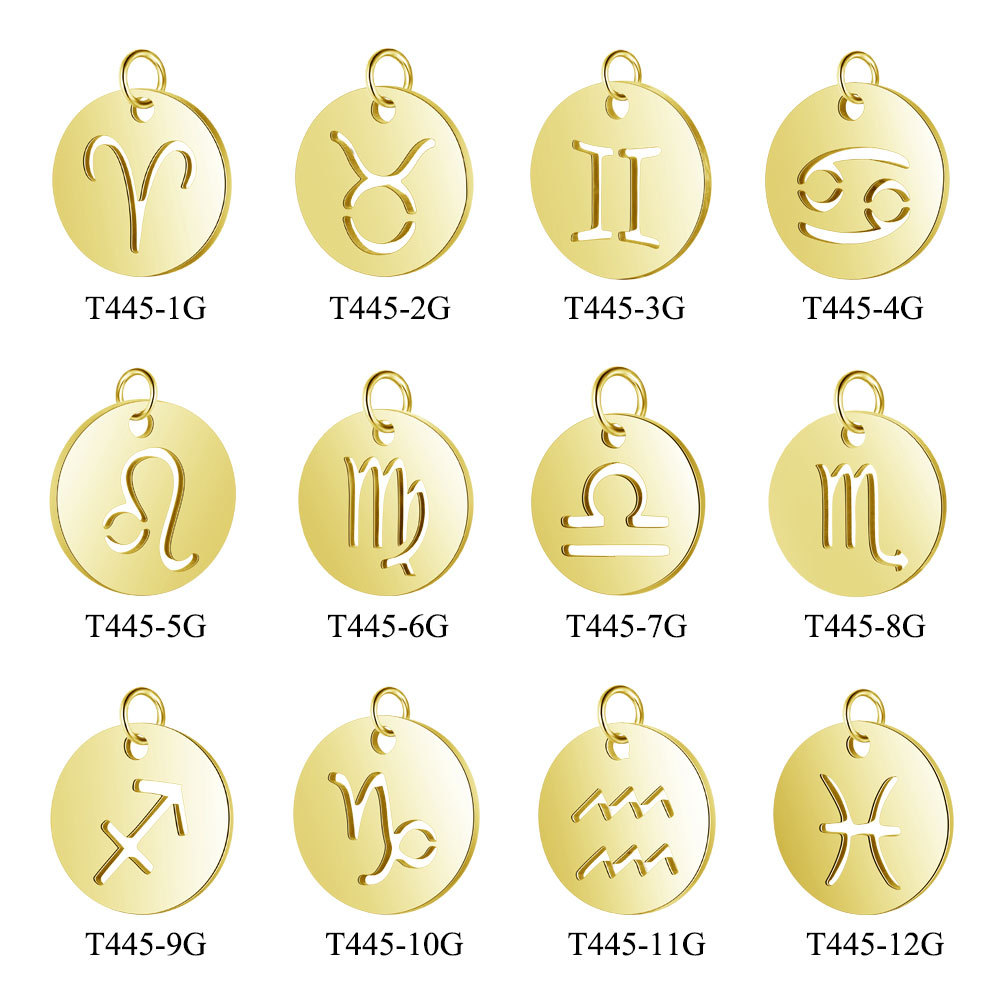 12pcs lot 316L Stainless Steel Mixed 12 Zodiac Charms Silver Gold Rose Gold Horoscope Astrology Symbol Pendant DIY Jewelry Craft in Charms from Jewelry Accessories