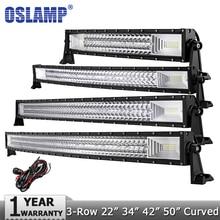 "Oslamp 3-Row 22 ""324 W 34"" 486 W 42 ""594 W 52"" 702 W LED Light Bar Offroad Led Bar Ponto Flood Combo Feixe Led Trabalho Light Bar 12 v 24 v"