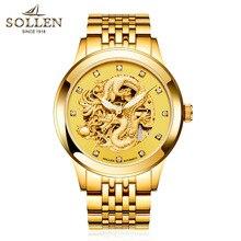 SOLLEN 40 мм Полный Золото Tourbillon лицо световой бабочка двойные снимки автоматическая мужчины движения резные автоматические механические часы