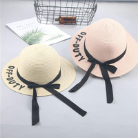 583fb9d48f1149 Parent Child Sun Hats For Women Letter Embroidery Black Bow Panama Straw Hat  Folded Floppy Beach