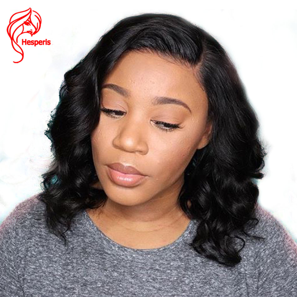 Hesperis 13x6 Lace Front Human Hair Wigs Pre Plucked 130 Density Brazilian Remy Wave Short Bob