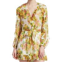 Для женщин v образным вырезом одежда с длинным рукавом цитрусовых штамп Цветочный принт Золотой рябить Playsuit завязывается на талии Шелковый