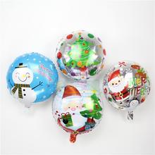Hot 18inch 100pcs/lot Christmas aluminum foil balloons santa clause snowman helium ballon for new year party xmas globos
