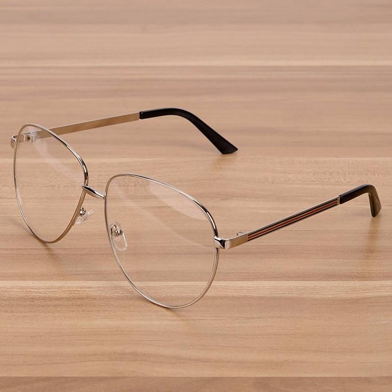 NOSSA stříbrné brýle s velkým rámečkem Dámské a pánské zlaté brýle Módní kovové čočky brýlí Luxusní myopia Brýlové rámy