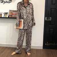 Hzirip 2019 Autumn Winter Fashion Homewear Women Nightshirt Leopard Simple Comfortable Women Pajamas Sets Soft Indoor Clothing
