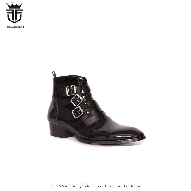 FR. LANCELOT 2019 nouveaux bottines en cuir verni pour hommes avec boucle boucle bottines Chelsea avec fermeture éclair bottines hommes tendances automne bottes noires