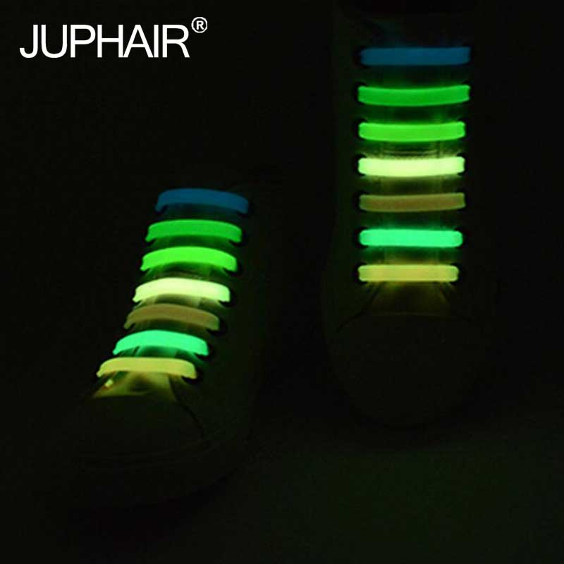 JUP 3 Sets(14 Root/Set)Girls Kids Shiny Lazy Shoelace Flat Fluorescent Luminous Lace Buckle White Color Sports Shoelace Elastic fender squier jim root telecaster flat white