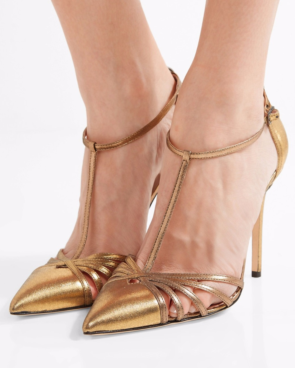 ФОТО Sexy High Heel Sandals for Women Gloden Leather Party Shoes Evening Dress High Heels Pointy Toe T strap Shoes Ladies Stilettos