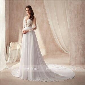 Image 3 - V neck Sheer Bodice Lace Applique Beach Chiffon Wedding Dresses Long Sleeves Open Back White Bridal Dress Vestido De Noiva