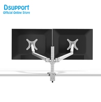 Free Shipping OA 4S Aluminum Alloy Desktop Double Arm Dual Monitor Holder Full Motion LED Screen Mount Arm Rotary Base Stand