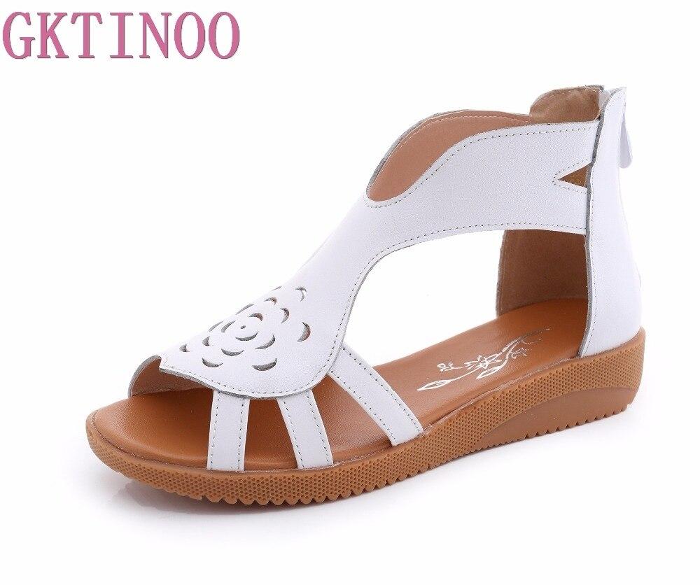 GKTINOO Genuine Leather Flat Sandals Women Shoes Casual 2019 Summer Gladiator Sandals Woman Fashion Female Sandalias