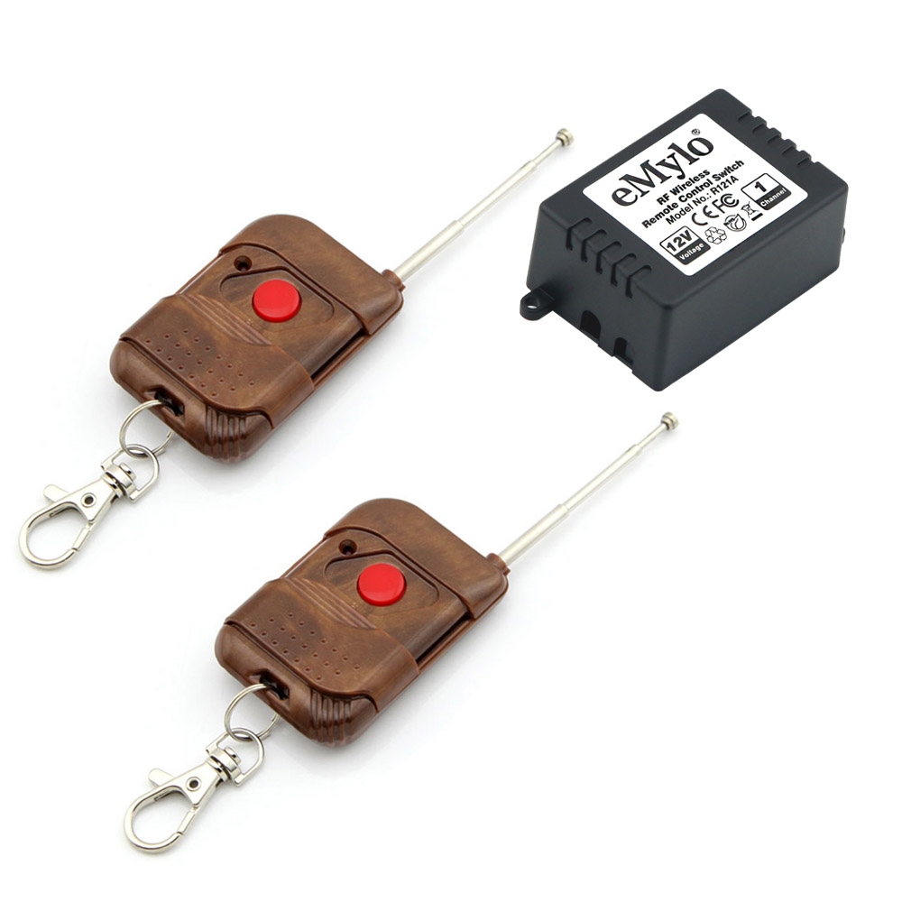 emylo dc 12v wireless switch remote control light switch 433mhz peach wood color type. Black Bedroom Furniture Sets. Home Design Ideas