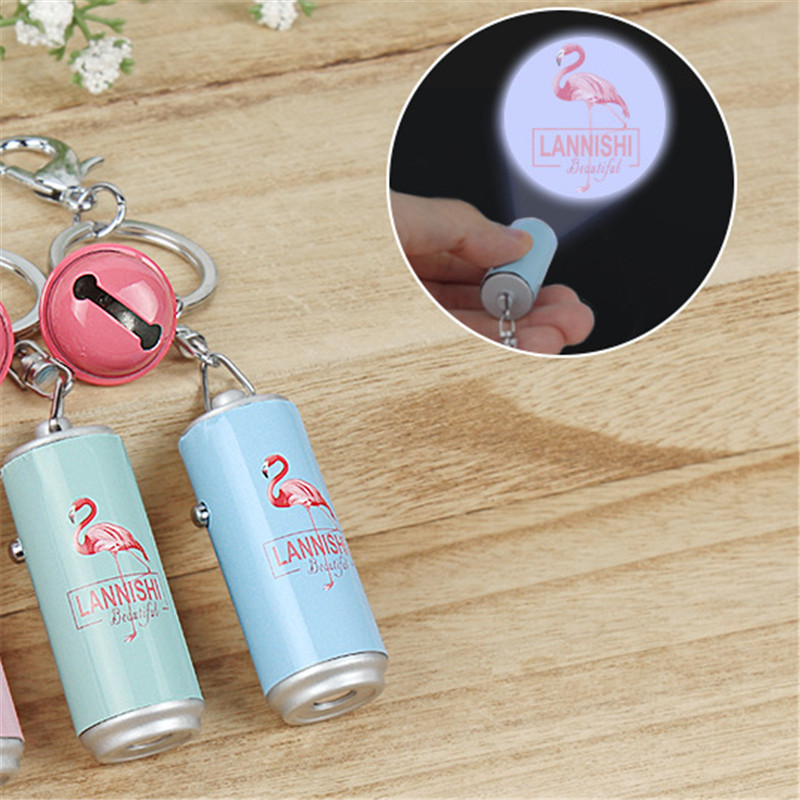 Flamingo Party New 1PC Flamingo Projection Flashlight Keychain Flamingo Keychain Pendant Wedding Gifts for Guests Party SuppiesS