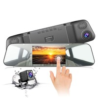170 Degrees Loop Cam Dash Touchscreen Recording G sensor Cam Mirror Rearview Motion Rear Detection Wide Car Angle 1080p