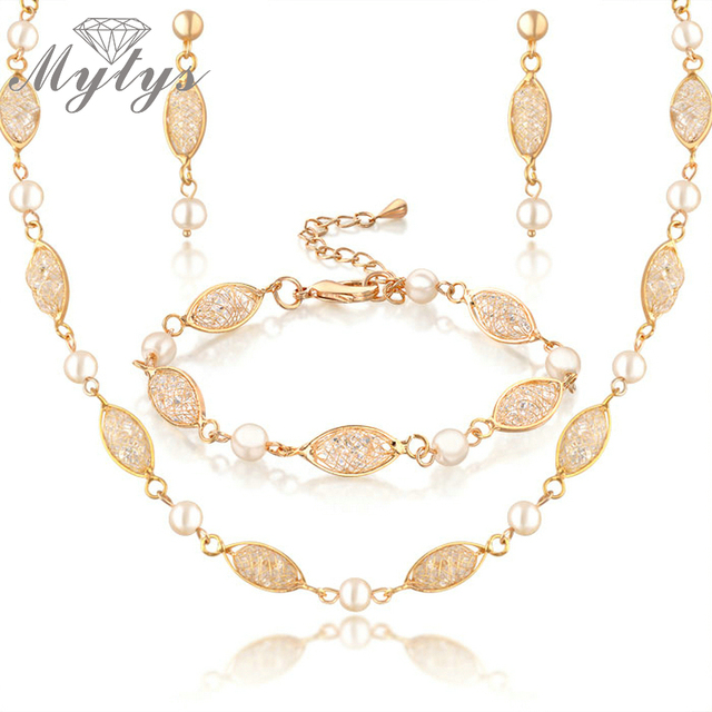 41b4f3180 Mytys Jewelry Sets wedding accessories gold GP 3-IN-1 Bracelet+necklace+ earrings n705