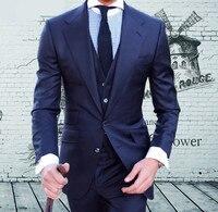 2018 индивидуальный заказ Высокое качество камвольно бренд Super120's синий костюм Для мужчин s свадебные смокинги Slim Fit best мужской костюм блейзер