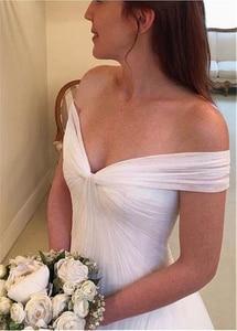 Image 2 - Elegant Tulle Off the shoulder Neckline A line Wedding Dresses With Pleats Tulle Bridal Dress vestido de noiva sereia