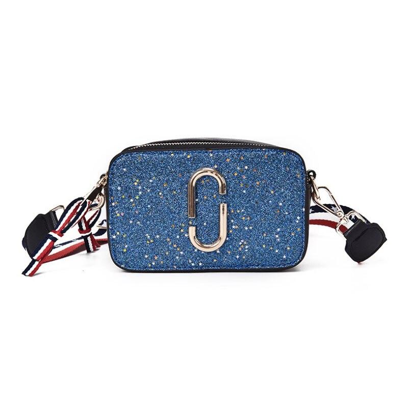 2018 New Fashion Camera Bag Female Bag Clip Sequins Wide Shoulder Strap Korean Version Of The Trend Of Shoulder Diagonal Bag