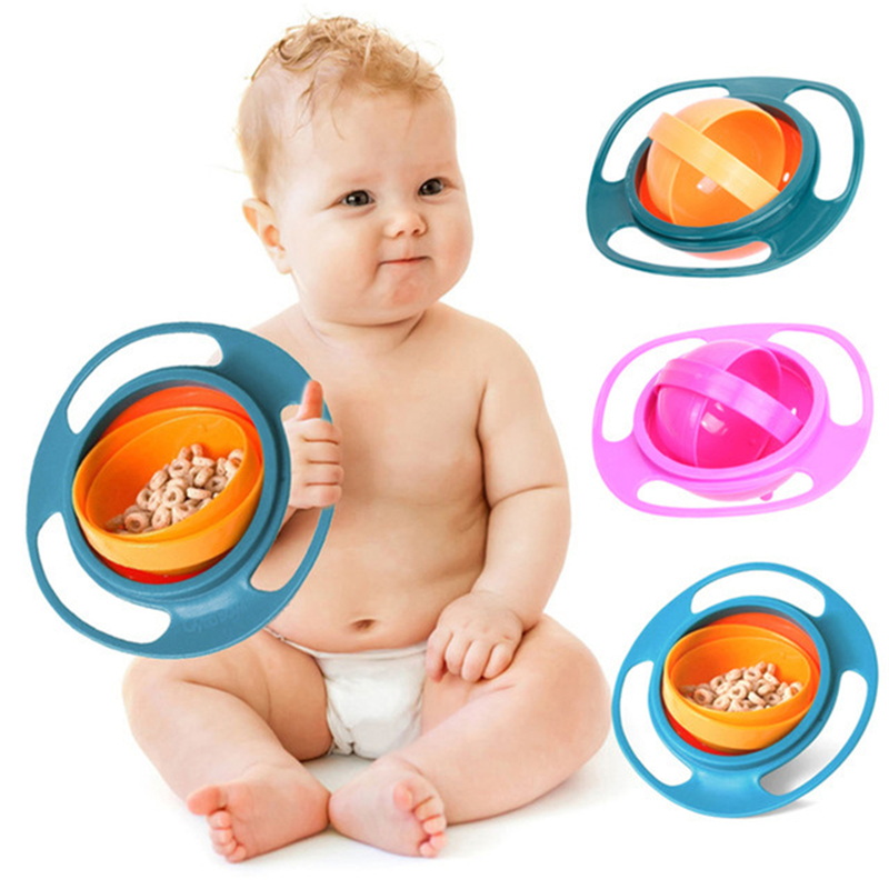 1pcs Universal Gyro Bowl Practical Design Children Rotary Balance Gyro Umbrella 360 Rotate Spill-Proof Feeding Dishes