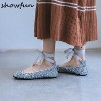 Kadın bling üst dantel dantel-up papyon slip-on balerinler marka tasarımcısı eğlence espadrilles kadın konfor moccasins ayakkabı