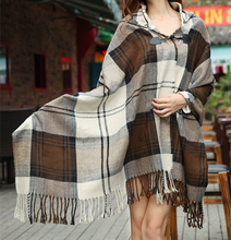 Free Shipping 2016 New Women Novelty Autumn Winter Plaid Tartan Poncho Shawl Checked Scarves Cape