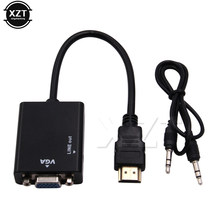 Mini HDMI na adapter VGA Femal HDMI konwerter VGA z HDMI do VGA 3.5mm Jack Audio kabel HDMI na VGA adapter dla PS4(China)