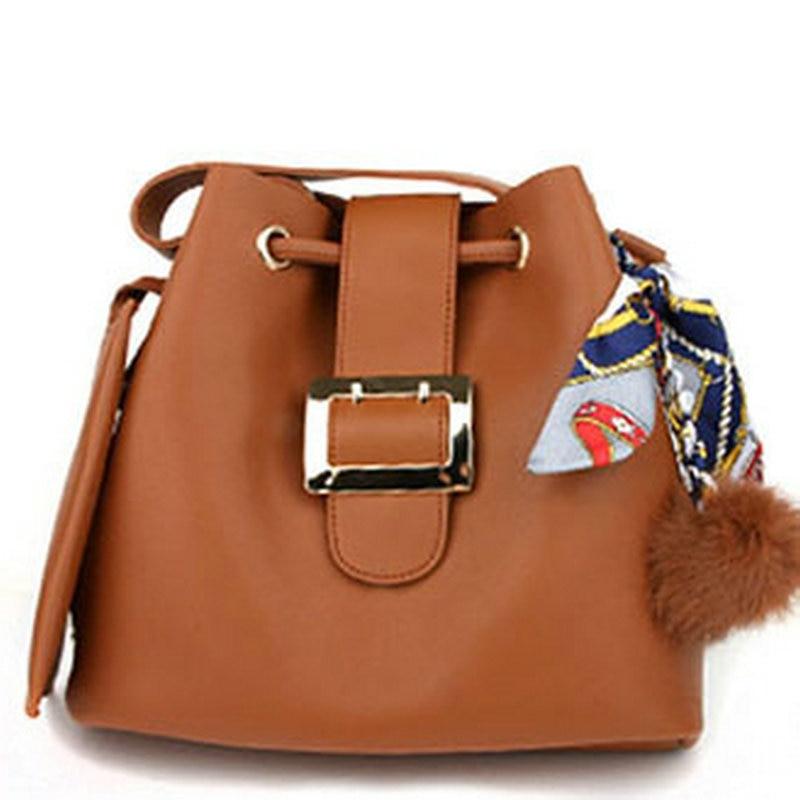 ФОТО Women's fashion simplicity solid color silk scarves bucket bag drawstring handbag pom pom tote cross body bags