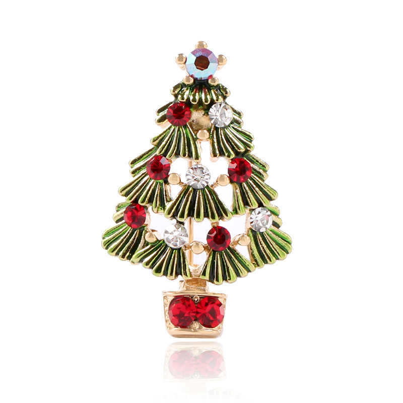 2c2a5c1eee CINDY XIANG Cute Green Paint Christmas Tree Brooches for Women ...
