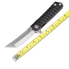 Samurai Sword Folding Knife D2 Blade Wash TC4 Titanium Alloy Handle Survival Camping Knife Hunting Knife Tactical Utility Tool