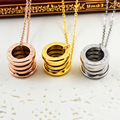 Fashion Real gold plated roman number Screw Spring Pendants Love Necklaces, Luxury Brand Stainless Steel Women Carter bijoux