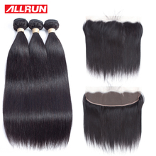 Allrun Indian 3 Bundles Straight Human hair With 13*4 Ear To Ear Lace Frontal Closure Hair Extension Non Remy 4 Pcs/lot