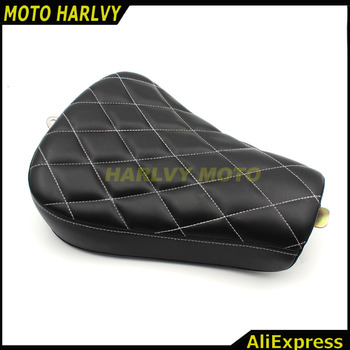 Motorcycle Driver Front Diamond Leather Pillow solo Seat Cushion For Harley Sportster Forty Eight XL1200 883 72 48 Black