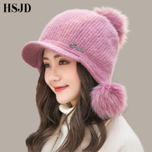 three pom pom hat Women Winter Warm Rabbit hair Knitted Hat Snow Ski Caps with Visor 2018 New Cute Winter Beanie Caps for Girl