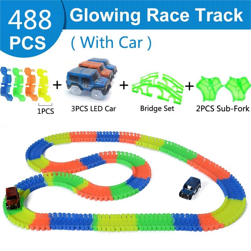 Железнодорожная волшебный светящийся гибкие трек автомобиль игрушки детей гонки изгиб рельсового пути привели Электронная вспышка света автомобиля DIY игрушки детям подарок - Цвет: 488pc 3 car 4 bridge
