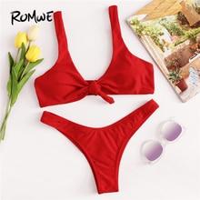 Romwe Sport Knot High Leg Bikini Set 2018 Summer Beach Sexy Swimwear Women Red Plain V-neck Slim Bikinis With Chest Pad
