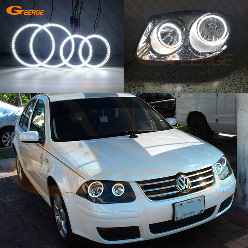 For Volkswagen VW <font><b>Jetta</b></font> City MK4 2007 <font><b>2008</b></font> 2009 Excellent DRL Ultra bright illumination smd led Angel Eyes kit DRL image