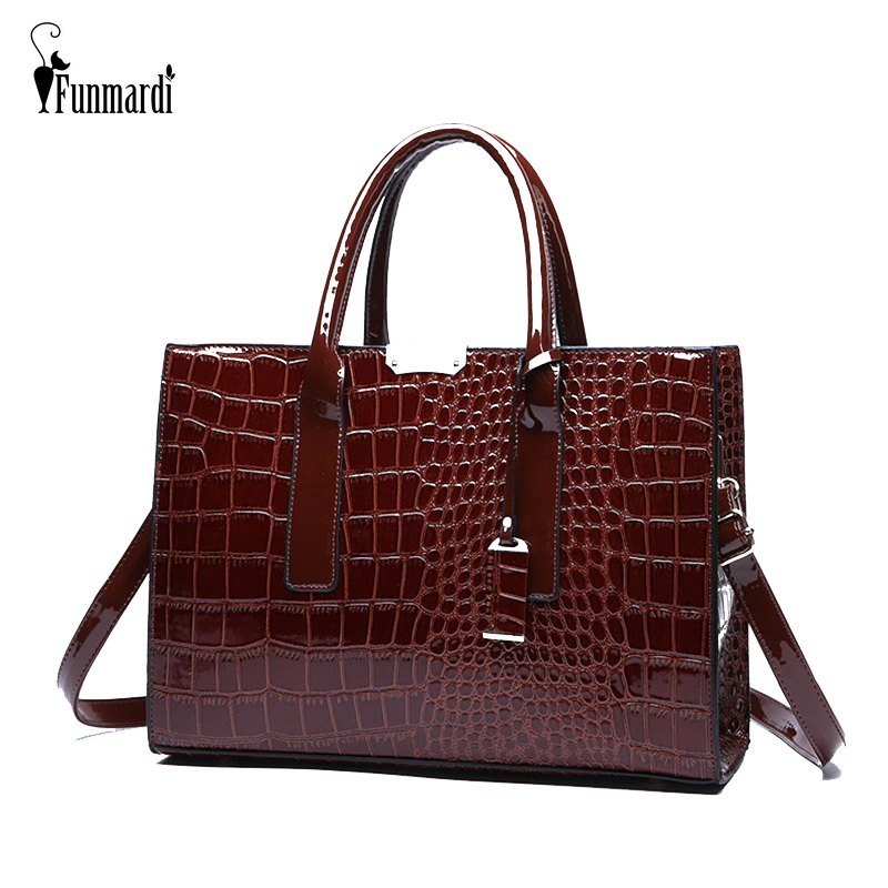 FUNMARDI Luxury Handbags Women's Bag Designer Crocodile Patent Leather Handbags Brand Shoulder Bag For Women Trunk Bags WLHB1853