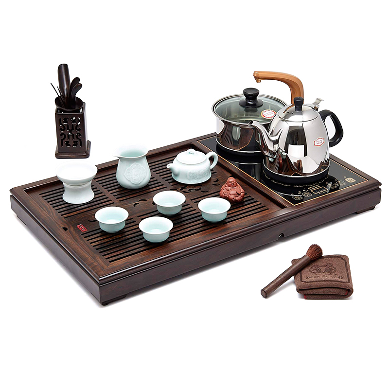 chinese complete tea set pot cup tray electrical kettle. Black Bedroom Furniture Sets. Home Design Ideas