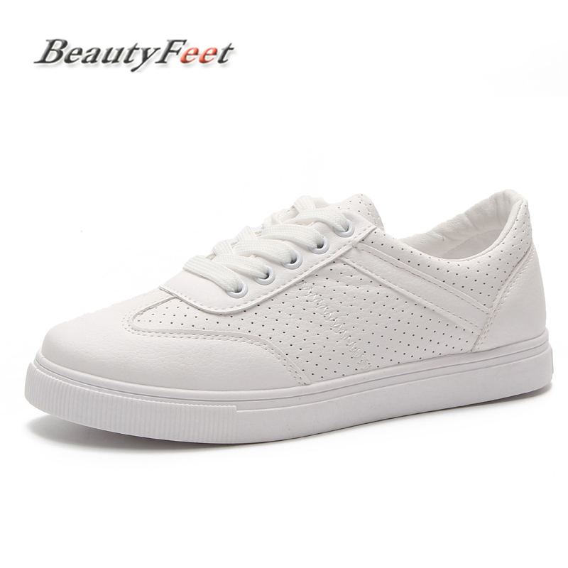 Fashion Women Sneakers Vulcanized Shoes Leather Ladies Lace-up Casual Shoes Hollow Breathable Walking Shoes Flats BeautyFeet