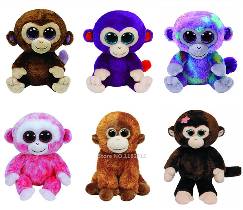 6e6d7db2cef Ty Beanie Boos Monkey Plush Toy 15cm Coconut Olga Schweetheart Orangutan  Petals Ruby Wasabi Zuri Cute Stuffed Animals Big Eyes