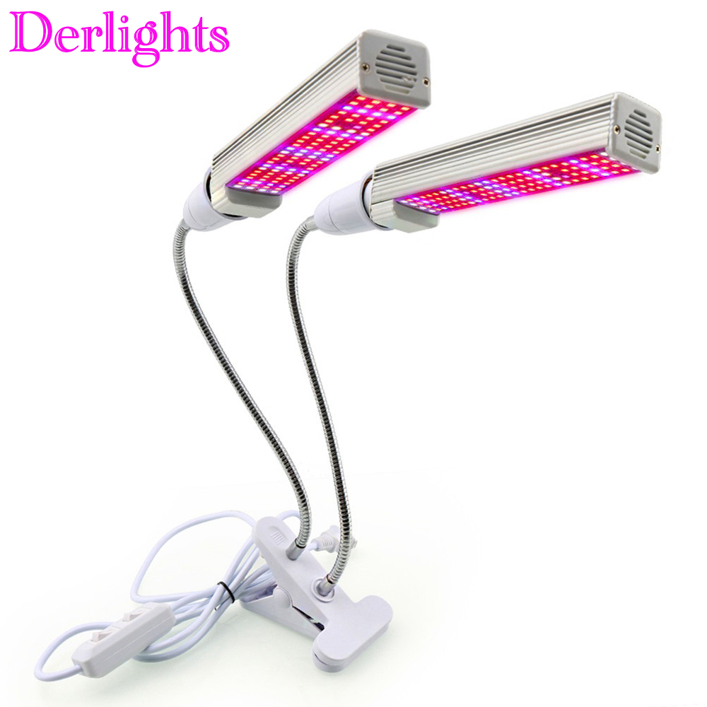 Dual Head 208LED Grow Light With Desk Holder Clip Full Spectrum Growing Lamp For Indoor Hydroponics Flowers Plants Vegetables