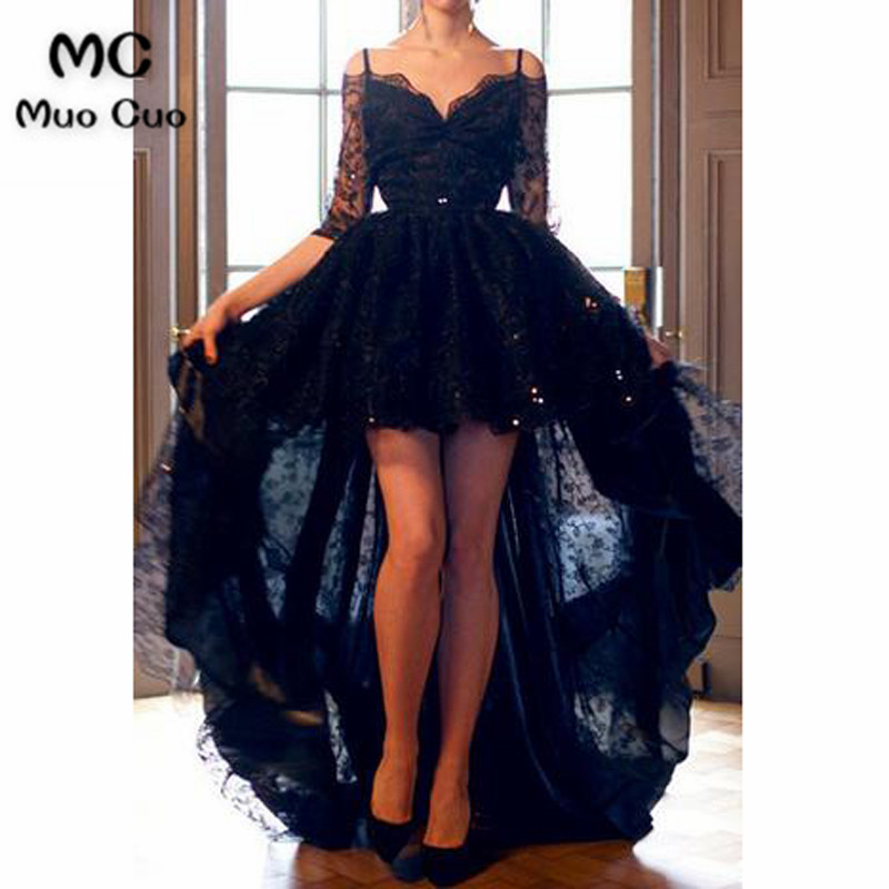 Black 2018 Hi Lo Gown   Evening   Party   Dresses   Half Sleeve Lace Spaghetti Straps long   evening     dresses   for women