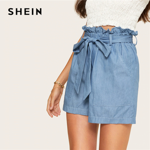 Image 2 - SHEIN Casual Blue Paperbag Waist Twin Pocket Patched Belted Denim Shorts Women Summer 2019 High Waist Wide Leg Solid Shorts