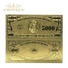 Банкноты долларовые золотые 5000 долларов США, банкноты с покрытием из искусственного золота, коллекция креативных подарков, домашний декор ...
