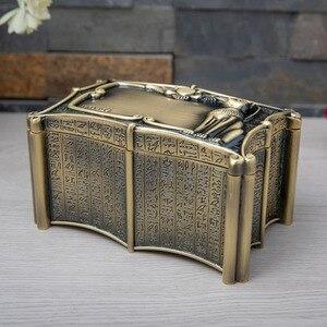 Image 2 - Vintage Mısır Bastet Kedi Metal Anubis Mücevher Kutusu Mısır Hediye saklama kutusu Ev Sanat Zanaat Dekorasyon Organizatör Tabut Göğüs