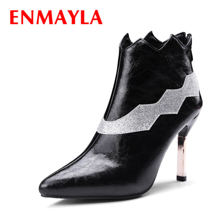 ENMAYLA Fashion Mixed Color Pointed Toe Ankle Boots for Women High Heels Punk Rock Shoes Woman Black Red Party Boots Pumps enmayla autumn winter chelsea ankle boots for women faux suede square toe high heels shoes woman chunky heels boots khaki black