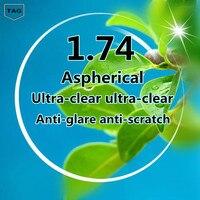 2017 Brand High quality optical prescription 1.74 Super thin aspheric UV resin prescription lenses for myopia real