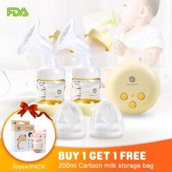 Bomba de pecho eléctrica doble bomba de leche portátil Lactancia Materna con modo de masaje y succión ajustable para la comodidad de mamá