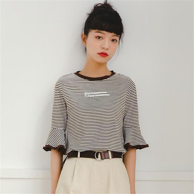 3e8ae480911 Women s T-shirts Korean Harajuku Ladies Ulzzang Female Summer Loose Student  Letters Printed Striped Tshirt